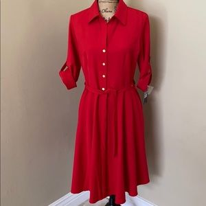 Sharagano Women's Button Down Shirt Dress, Red